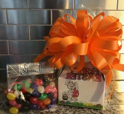 Easter Candy Gift Box-Basket-Orange Bow Filled With 1/2 LB B