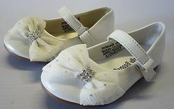 Jelly Beans Girl Dress Flats w/ Chiffon Bow  Toddler White P