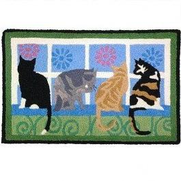 Kitties In The Window Blue Outdoor Rug