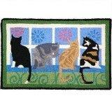 Kitties Blue Outdoor Rug
