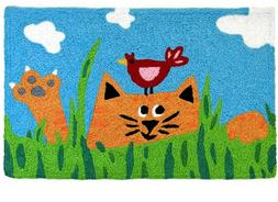 Tabby Cat & Tweetie Bird Kitty Jellybean Rug Indoor/Outdoor